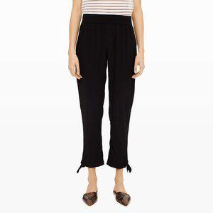 Club Monaco Silk Pull On Tie Hem Pants Black 8